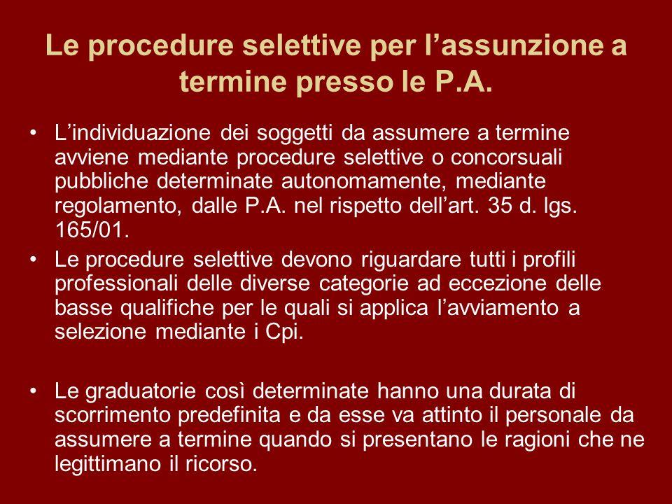 Le procedure selettive per lassunzione a termine presso le P.A.