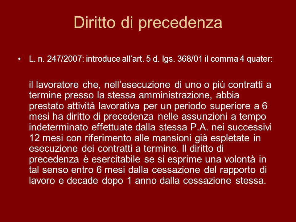 Diritto di precedenza L. n. 247/2007: introduce allart.
