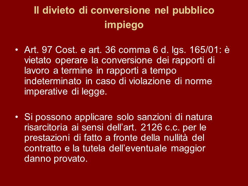 Il divieto di conversione nel pubblico impiego Art.