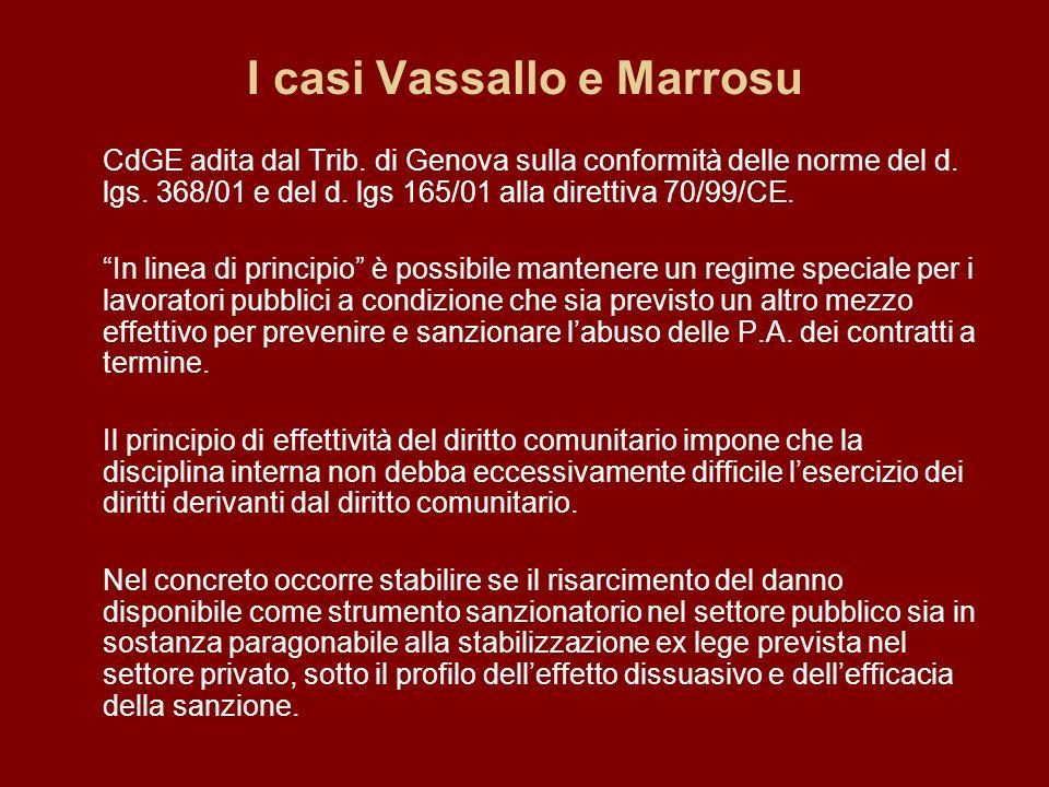 I casi Vassallo e Marrosu CdGE adita dal Trib. di Genova sulla conformità delle norme del d.