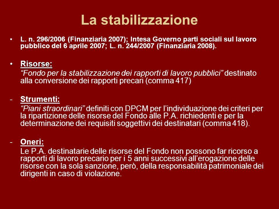 La stabilizzazione L. n.