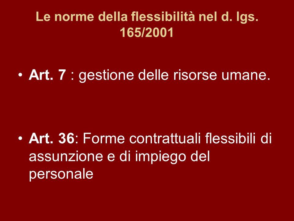 Le norme della flessibilità nel d. lgs. 165/2001 Art.