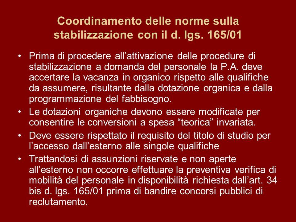 Coordinamento delle norme sulla stabilizzazione con il d.