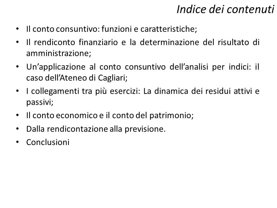 Indice dei contenuti Il conto consuntivo: funzioni e caratteristiche; Il rendiconto finanziario e la determinazione del risultato di amministrazione;