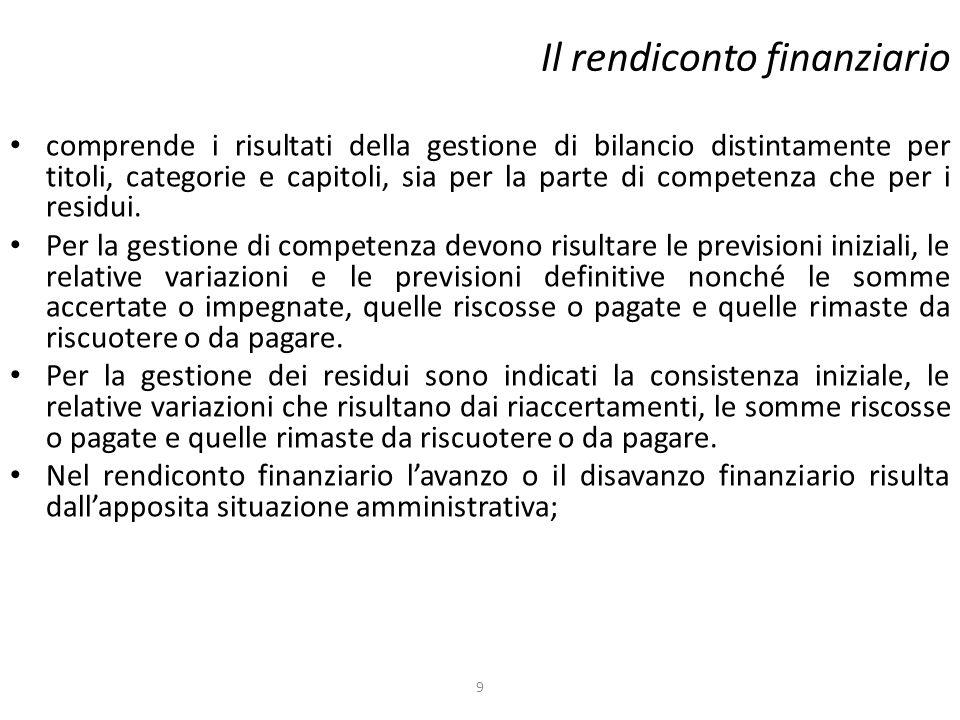 Il rendiconto finanziario comprende i risultati della gestione di bilancio distintamente per titoli, categorie e capitoli, sia per la parte di compete