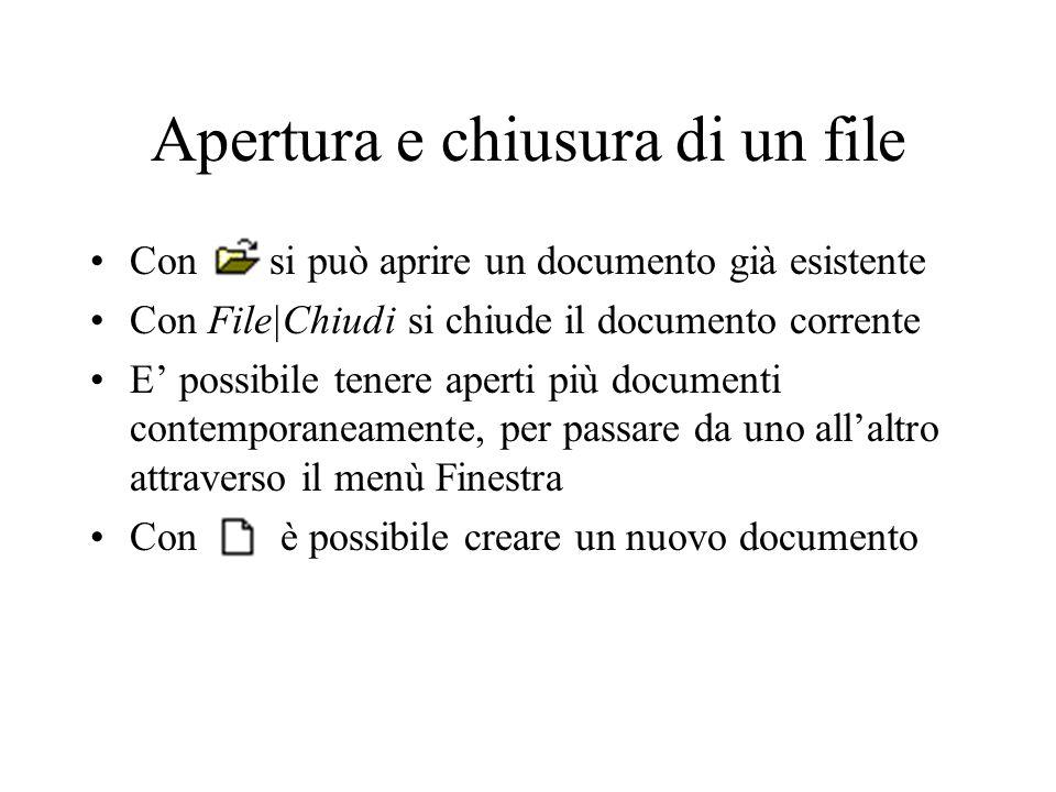 Apertura e chiusura di un file Con si può aprire un documento già esistente Con File|Chiudi si chiude il documento corrente E possibile tenere aperti