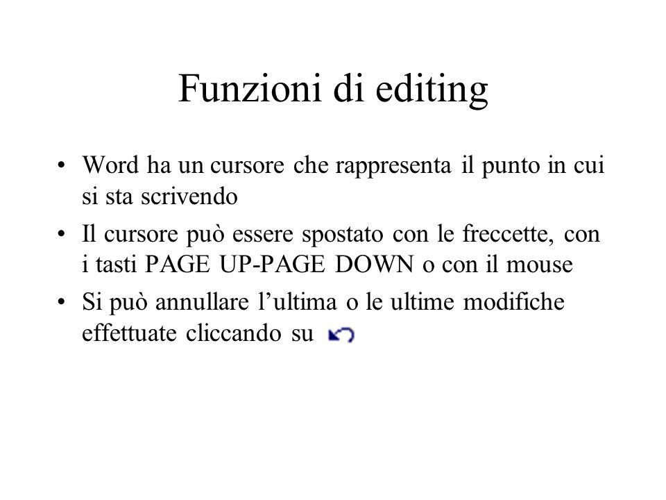 Funzioni di editing Word ha un cursore che rappresenta il punto in cui si sta scrivendo Il cursore può essere spostato con le freccette, con i tasti P