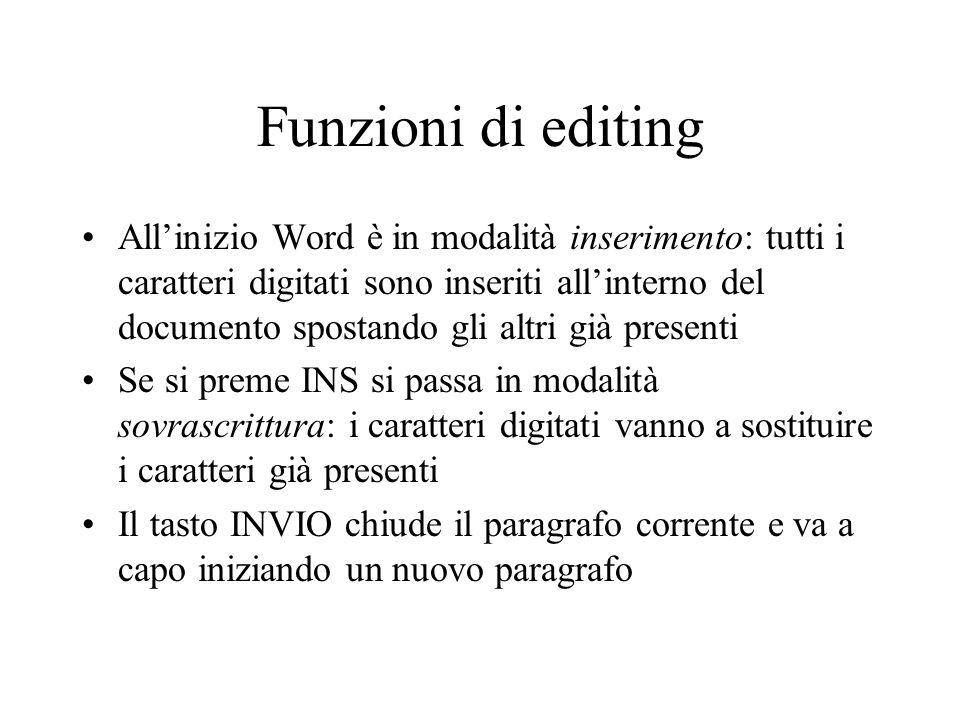 Funzioni di editing Allinizio Word è in modalità inserimento: tutti i caratteri digitati sono inseriti allinterno del documento spostando gli altri gi