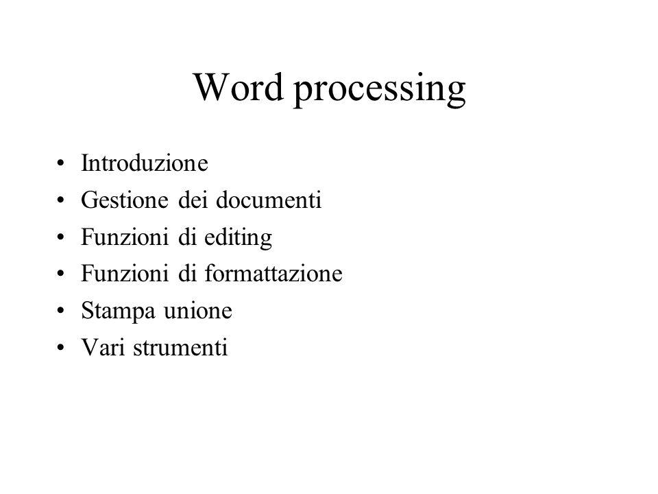 Introduzione Un word processor è un programma per la composizione, la gestione e limpaginazione dei testi Il testo viene trattato a livello di parola (da cui il termine word processor), ma anche a livello superiore (paragrafo, sezione, ecc.) ed inferiore (singolo carattere)