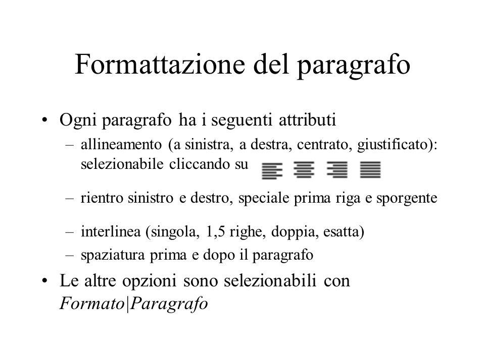 Formattazione del paragrafo Ogni paragrafo ha i seguenti attributi –allineamento (a sinistra, a destra, centrato, giustificato): selezionabile cliccan