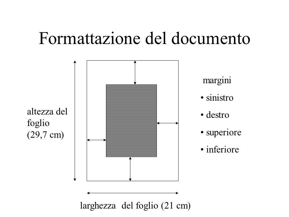 Formattazione del documento altezza del foglio (29,7 cm) larghezza del foglio (21 cm) margini sinistro destro superiore inferiore