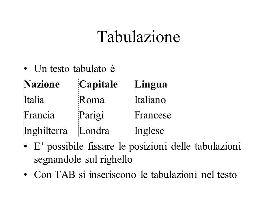 Tabulazione Un testo tabulato è NazioneCapitaleLingua ItaliaRomaItaliano FranciaParigiFrancese InghilterraLondraInglese E possibile fissare le posizio