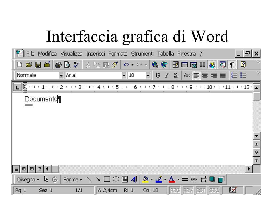 Formattazione Esistono tre tipi di formattazione: –sul carattere –sul paragrafo, cioè una parte di testo racchiusa tra due andate a capo –a livello di documento Per vedere dove iniziano i paragrafi cliccare su