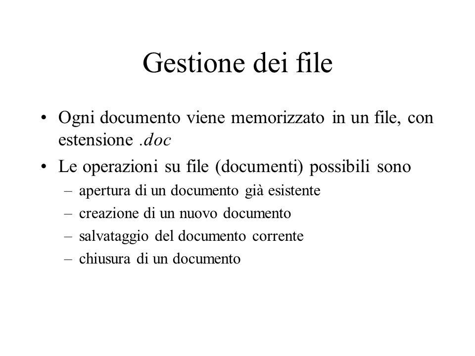 Gestione dei file Ogni documento viene memorizzato in un file, con estensione.doc Le operazioni su file (documenti) possibili sono –apertura di un doc