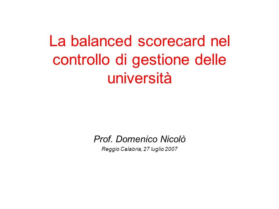 La balanced scorecard nel controllo di gestione delle università Prof. Domenico Nicolò Reggio Calabria, 27 luglio 2007