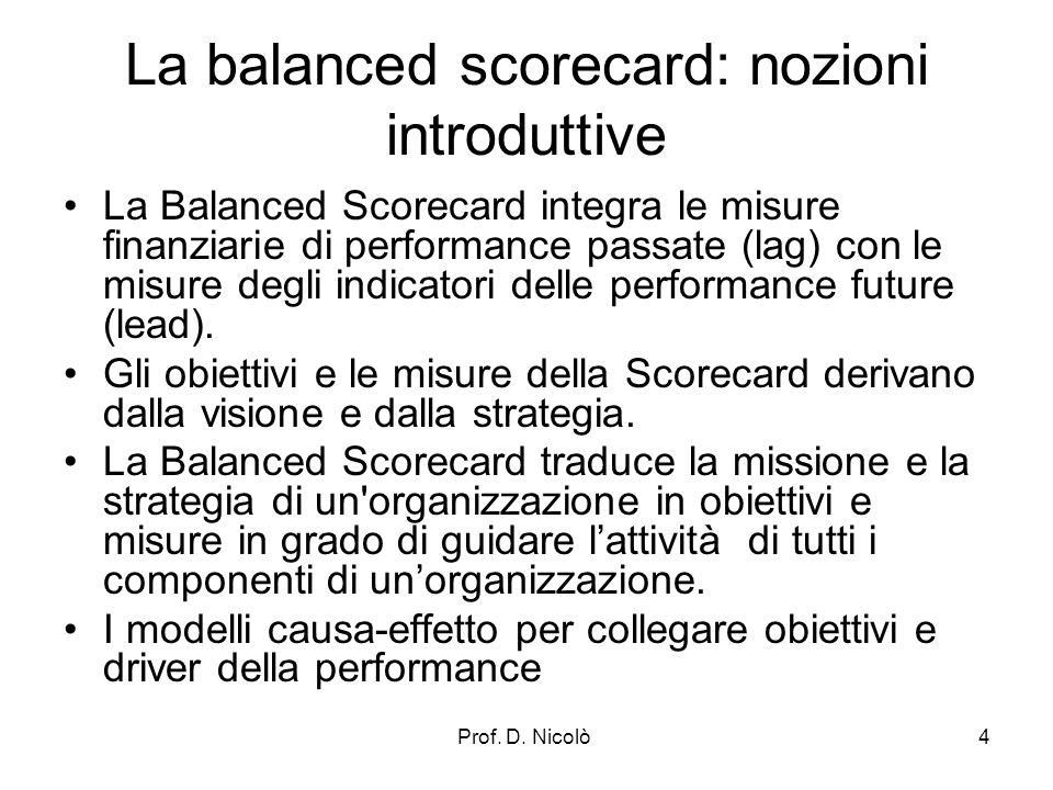 Prof. D. Nicolò4 La balanced scorecard: nozioni introduttive La Balanced Scorecard integra le misure finanziarie di performance passate (lag) con le m