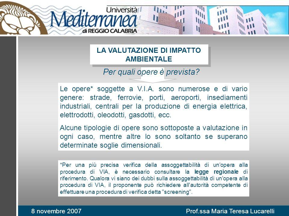 8 novembre 2007 Prof.ssa Maria Teresa Lucarelli Le opere* soggette a V.I.A. sono numerose e di vario genere: strade, ferrovie, porti, aeroporti, insed