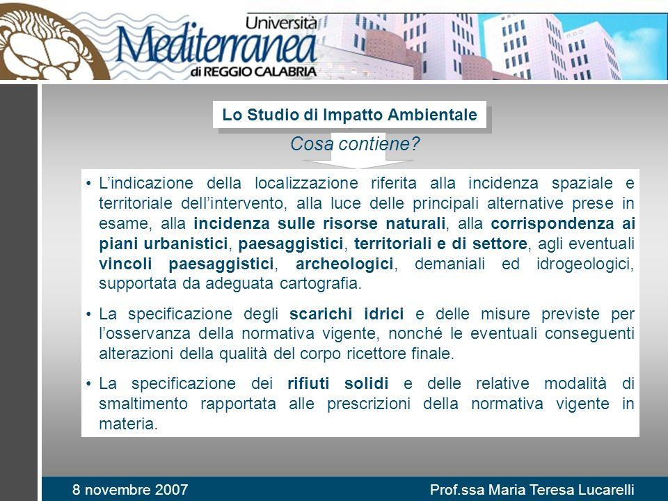 8 novembre 2007 Prof.ssa Maria Teresa Lucarelli Lo Studio di Impatto Ambientale Cosa contiene? Lindicazione della localizzazione riferita alla inciden