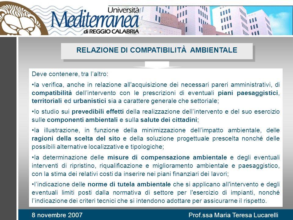 8 novembre 2007 Prof.ssa Maria Teresa Lucarelli RELAZIONE DI COMPATIBILITÀ AMBIENTALE Deve contenere, tra laltro: la verifica, anche in relazione all'