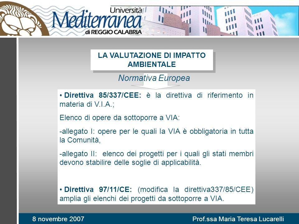 8 novembre 2007 Prof.ssa Maria Teresa Lucarelli Direttiva 85/337/CEE: è la direttiva di riferimento in materia di V.I.A.; Elenco di opere da sottoporre a VIA: -allegato I: opere per le quali la VIA è obbligatoria in tutta la Comunità, -allegato II: elenco dei progetti per i quali gli stati membri devono stabilire delle soglie di applicabilità.