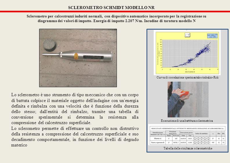 SCLEROMETRO SCHMIDT MODELLO NR Sclerometro per calcestruzzi induriti normali, con dispositivo automatico incorporato per la registrazione su diagramma dei valori di impatto.