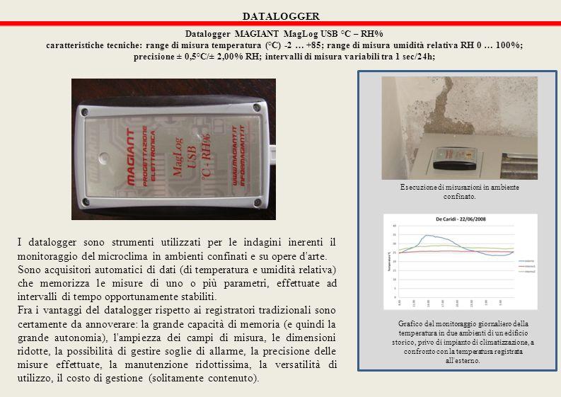 DATALOGGER Datalogger MAGIANT MagLog USB °C – RH% caratteristiche tecniche: range di misura temperatura (°C) -2 … +85; range di misura umidità relativa RH 0 … 100%; precisione ± 0,5°C/± 2,00% RH; intervalli di misura variabili tra 1 sec/24h; I datalogger sono strumenti utilizzati per le indagini inerenti il monitoraggio del microclima in ambienti confinati e su opere d arte.