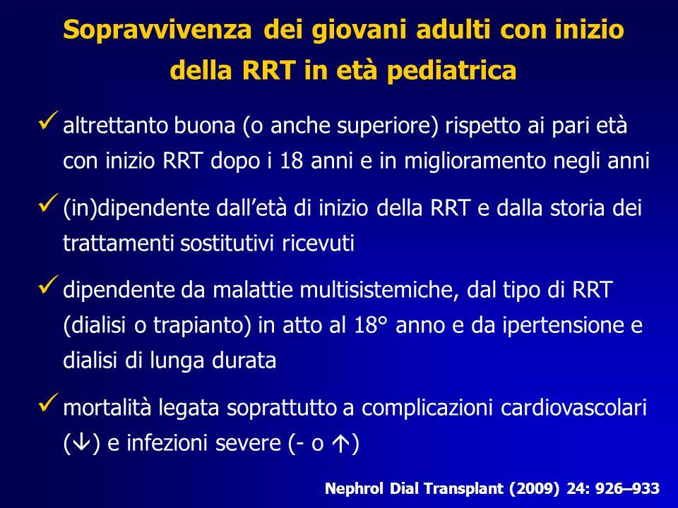 Sopravvivenza dei giovani adulti con inizio della RRT in età pediatrica Nephrol Dial Transplant (2009) 24: 926–933 altrettanto buona (o anche superior