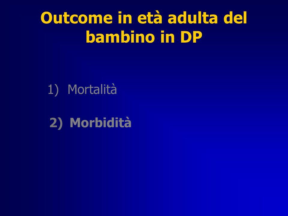 Outcome in età adulta del bambino in DP 1)Mortalità 2)Morbidità