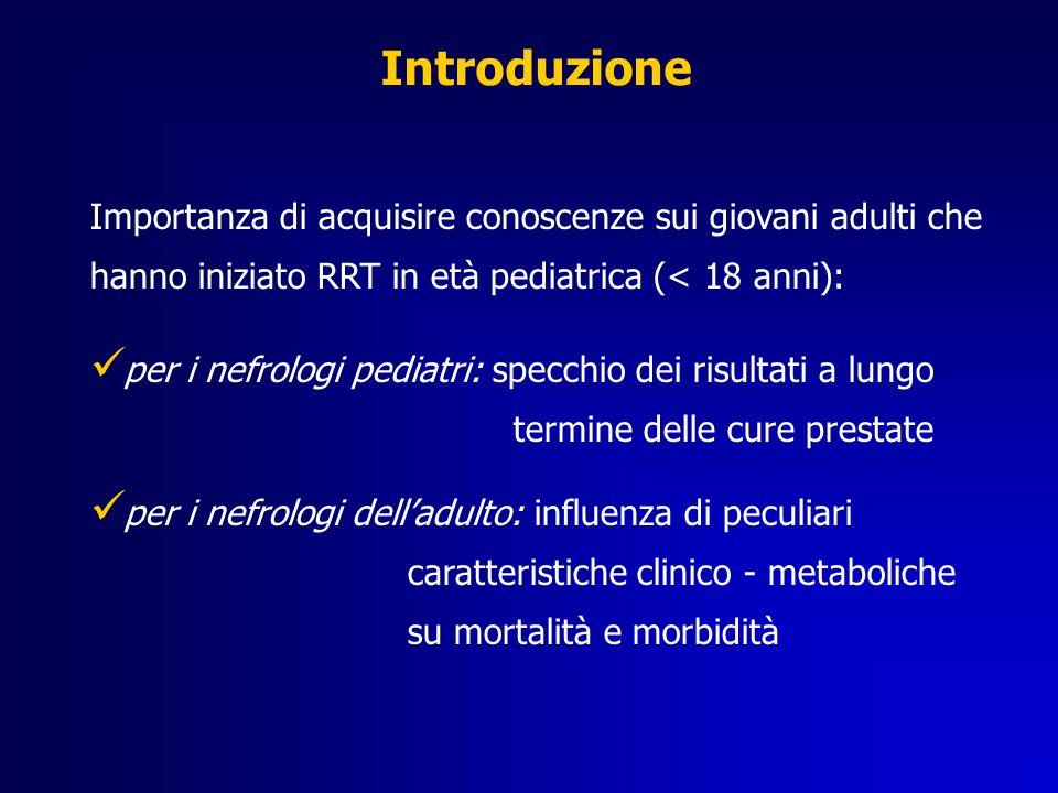 Introduzione Importanza di acquisire conoscenze sui giovani adulti che hanno iniziato RRT in età pediatrica (< 18 anni): per i nefrologi pediatri: spe