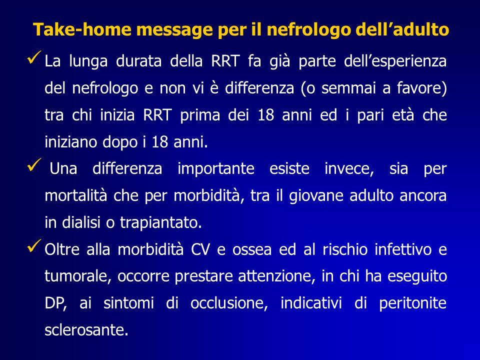 La lunga durata della RRT fa già parte dellesperienza del nefrologo e non vi è differenza (o semmai a favore) tra chi inizia RRT prima dei 18 anni ed i pari età che iniziano dopo i 18 anni.