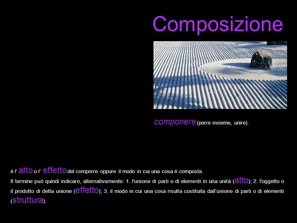 Composizione componere (porre insieme, unire). è l atto o l effetto del comporre oppure il modo in cui una cosa è composta. Il termine può quindi indi
