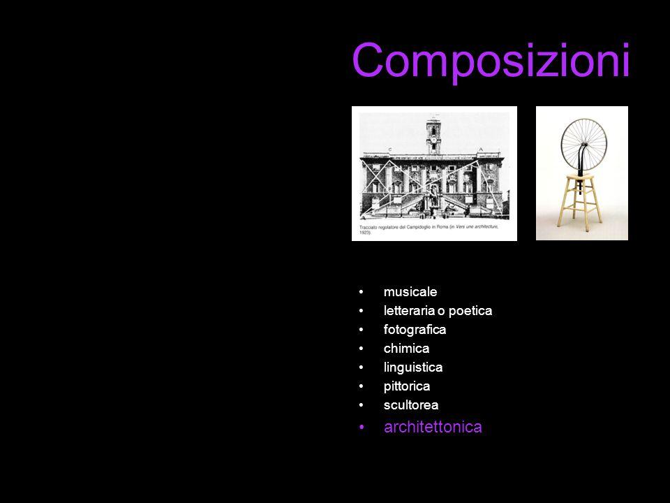 Composizioni musicale letteraria o poetica fotografica chimica linguistica pittorica scultorea architettonica