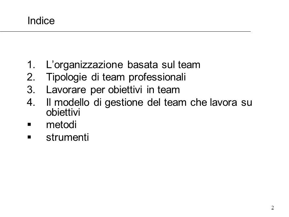 2 Indice 1.Lorganizzazione basata sul team 2.Tipologie di team professionali 3.Lavorare per obiettivi in team 4.Il modello di gestione del team che la