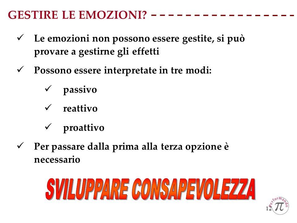12 GESTIRE LE EMOZIONI? Le emozioni non possono essere gestite, si può provare a gestirne gli effetti Possono essere interpretate in tre modi: passivo