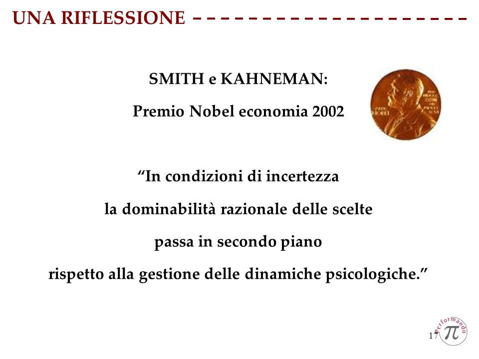 17 SMITH e KAHNEMAN: Premio Nobel economia 2002 In condizioni di incertezza la dominabilità razionale delle scelte passa in secondo piano rispetto all