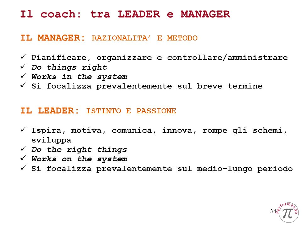 34 IL LEADER: ISTINTO E PASSIONE Ispira, motiva, comunica, innova, rompe gli schemi, sviluppa Do the right things Works on the system Si focalizza prevalentemente sul medio-lungo periodo IL MANAGER: RAZIONALITA E METODO Pianificare, organizzare e controllare/amministrare Do things right Works in the system Si focalizza prevalentemente sul breve termine Il coach: tra LEADER e MANAGER
