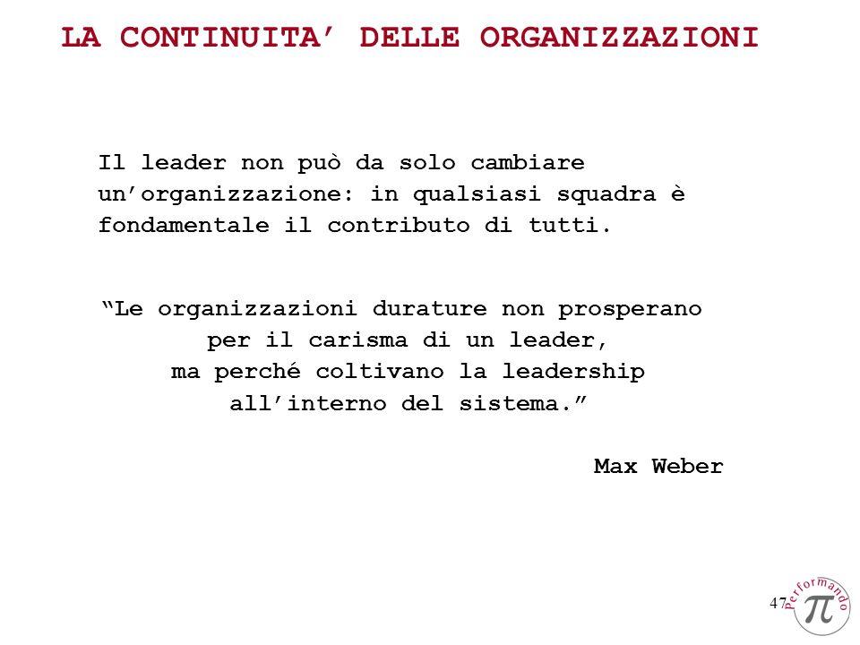 47 Il leader non può da solo cambiare unorganizzazione: in qualsiasi squadra è fondamentale il contributo di tutti. Le organizzazioni durature non pro