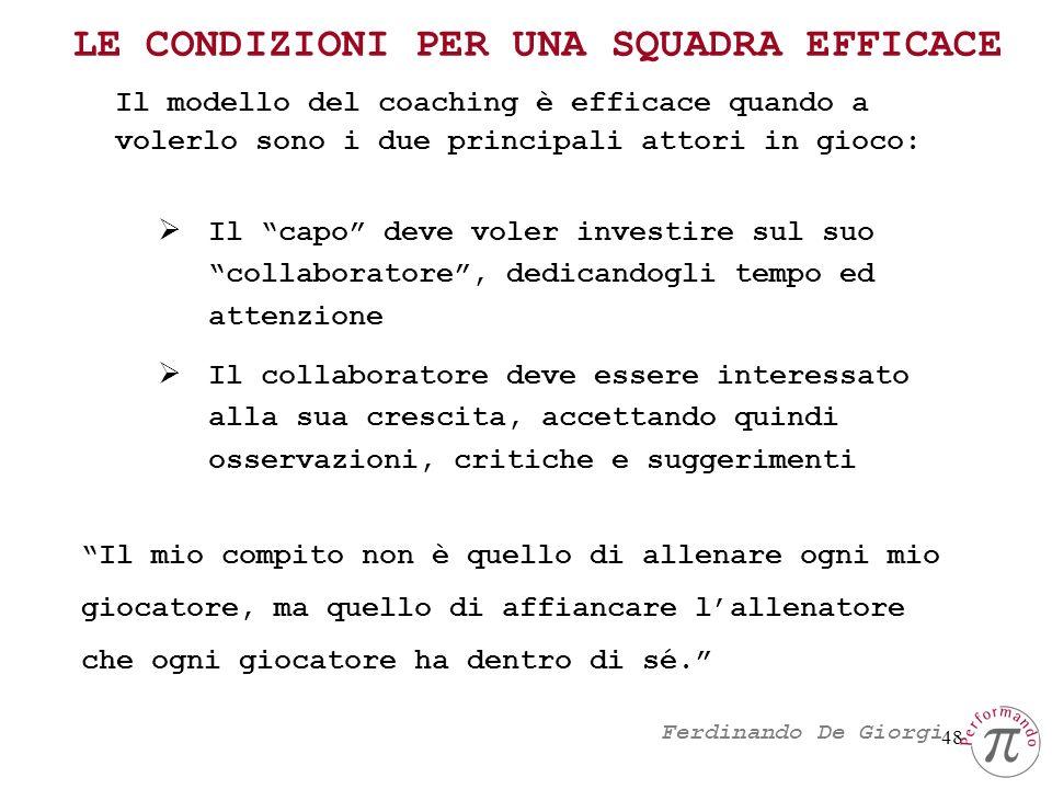 48 Il modello del coaching è efficace quando a volerlo sono i due principali attori in gioco: LE CONDIZIONI PER UNA SQUADRA EFFICACE Il capo deve vole