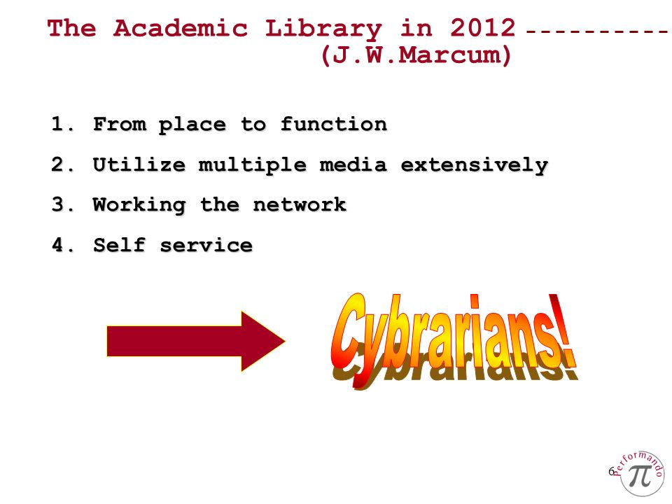 6 1.From place to function 2.Utilize multiple media extensively 3.Working the network 4.Self service The Academic Library in 2012 (J.W.Marcum)