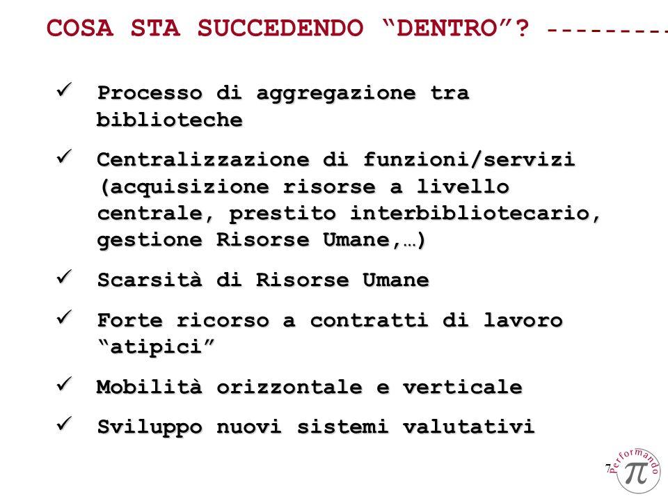 7 Processo di aggregazione tra biblioteche Processo di aggregazione tra biblioteche Centralizzazione di funzioni/servizi (acquisizione risorse a livel