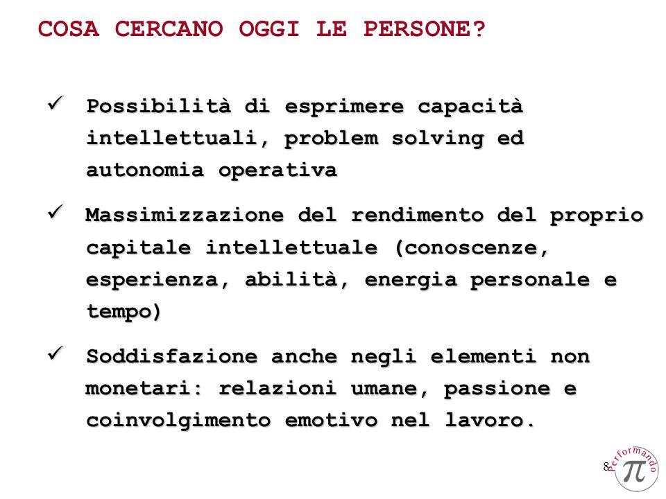 8 Possibilità di esprimere capacità intellettuali, problem solving ed autonomia operativa Possibilità di esprimere capacità intellettuali, problem sol