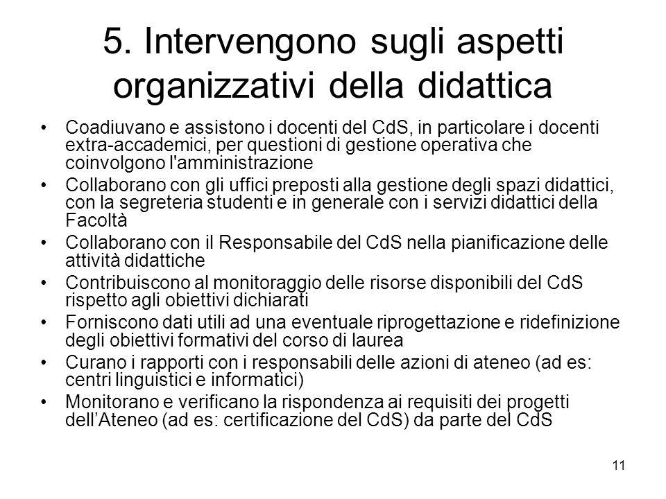 11 5. Intervengono sugli aspetti organizzativi della didattica Coadiuvano e assistono i docenti del CdS, in particolare i docenti extra-accademici, pe