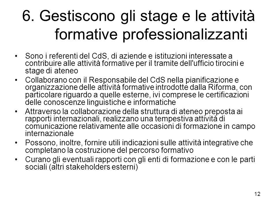 12 6. Gestiscono gli stage e le attività formative professionalizzanti Sono i referenti del CdS, di aziende e istituzioni interessate a contribuire al
