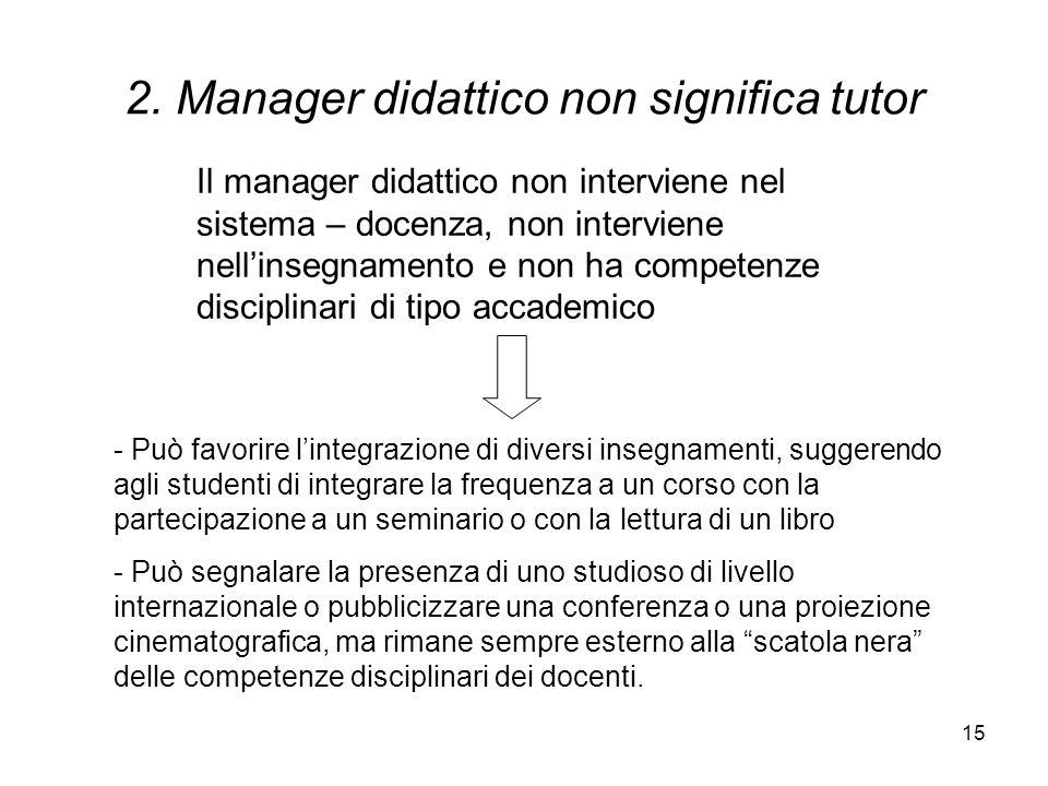 15 2. Manager didattico non significa tutor - Può favorire lintegrazione di diversi insegnamenti, suggerendo agli studenti di integrare la frequenza a