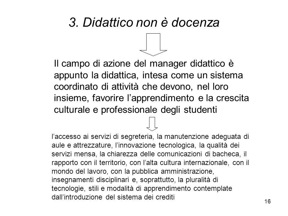 16 3. Didattico non è docenza Il campo di azione del manager didattico è appunto la didattica, intesa come un sistema coordinato di attività che devon