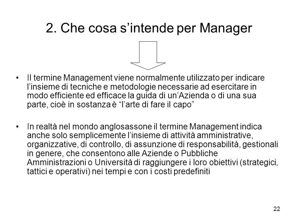 22 2. Che cosa sintende per Manager Il termine Management viene normalmente utilizzato per indicare linsieme di tecniche e metodologie necessarie ad e