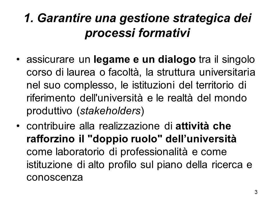3 1. Garantire una gestione strategica dei processi formativi assicurare un legame e un dialogo tra il singolo corso di laurea o facoltà, la struttura