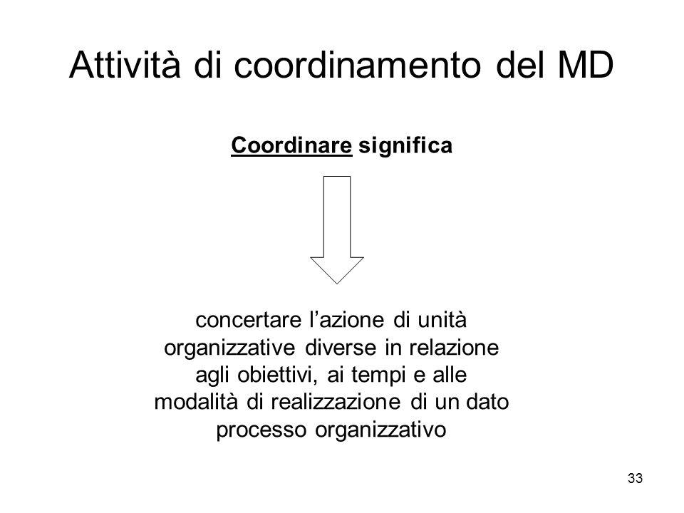 33 Attività di coordinamento del MD Coordinare significa concertare lazione di unità organizzative diverse in relazione agli obiettivi, ai tempi e all