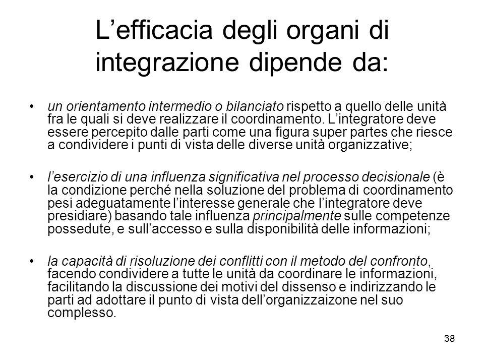 38 Lefficacia degli organi di integrazione dipende da: un orientamento intermedio o bilanciato rispetto a quello delle unità fra le quali si deve real