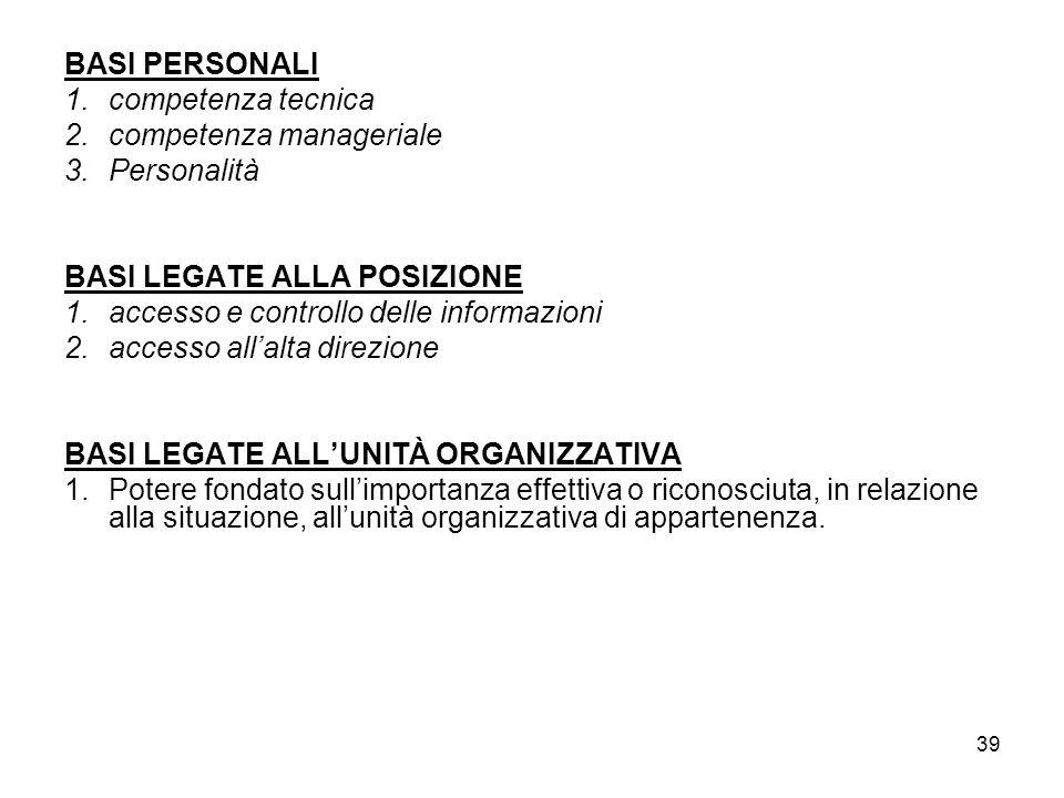 39 BASI PERSONALI 1.competenza tecnica 2.competenza manageriale 3.Personalità BASI LEGATE ALLA POSIZIONE 1.accesso e controllo delle informazioni 2.ac